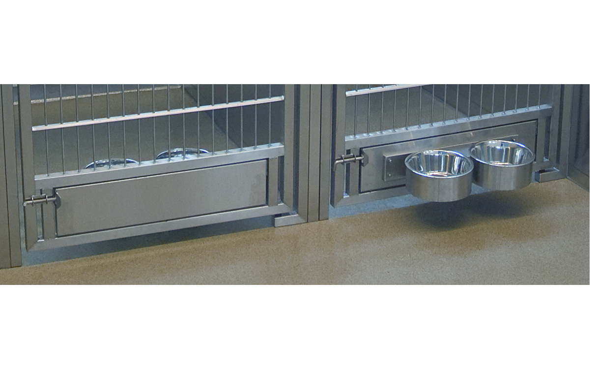 The Stainless Steel Dog Kennel Rotating Bowl Feeder From Direct Animal