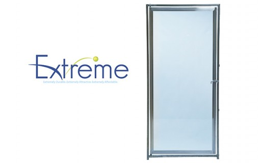 The Direct Extreme Kennel System includes a glass dog-kennel door option in 1/4-inch tempered glass, framed in heavy-duty stainless steel