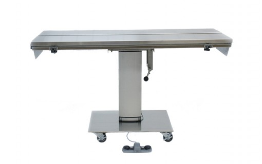 """Direct Animal photo: Our electric veterinary surgery table lowers to 27 ½"""" and raises to 44"""" with a simple foot-tap"""