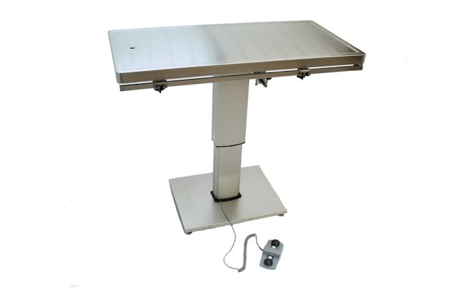 "Direct Animal photo: Our electric veterinary surgery table lowers to 27 ½"" and raises to 44"" with a simple foot-tap"