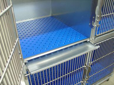 Direct Animal sanitary cages and cage equipment, with the only subfloor and removable collection tray system for easy urine removal.